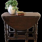 Antique Drop Leaf Table, English Oak Gate Leg.