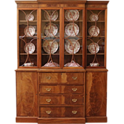 REDUCED Vintage Breakfront China Cabinet, Mahogany, American.