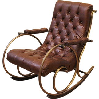 REDUCED Vintage Lee Woodard Leather and Brass Rocking Chair. Mid 20th Century. American.