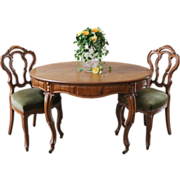 REDUCED Antique French Dining Table & Chairs. Walnut, C.1880. Free Shipping.