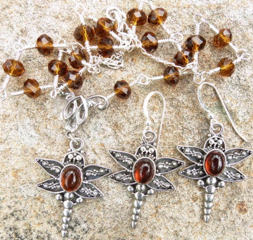 TIFFANY'S DRAGONFLIES Set Amber Crystal Silver Victorian Style