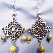 SOLD ISOLDE Earrings 2 Irish Connemara Marble Celtic Medieval Style Pewter & Silver - Red Tag