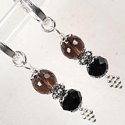 Shakespeare's Dark Lady Hoop Earrings Smoky Quartz Jet Crystal Tudor Renaissance Style