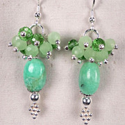 SOLD VENUS In GREEN Earrings Chrysoprase 24K GV Ancient Roman Style - Red Tag Sale Item