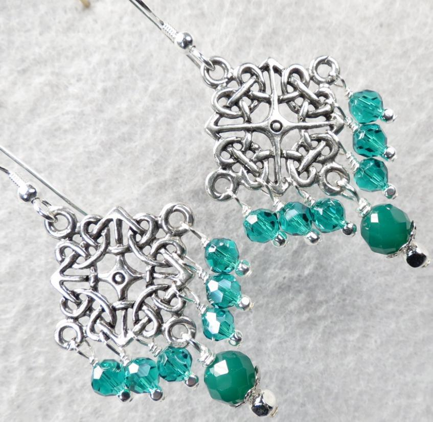 Cliodna of the Waves Earrings Green Onyx Crystal Celtic Medieval Style