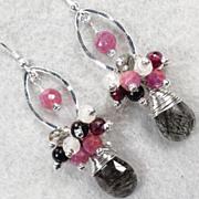 WISE CRONE Earrings Ruby Tourmalinated Quartz Rutilated Quartz Garnet Rainbow Moonstone