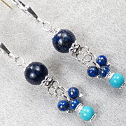 SOLD Dawa of the Skies Earrings Lapis Turquoise Silver Tibetan Style - Red Tag Sale Item