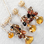 SALE Caterina The Tigress Set Amber Tourmaline Hessonite Garnet Black Onyx Citrine Quartz Silv