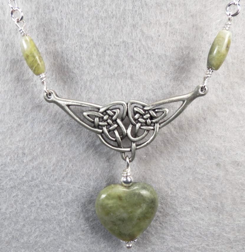ISOLDE Necklace Irish Connemara Marble Green Garnet Celtic Medieval Style