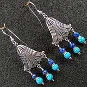 EGYPTIAN GODDESS Earrings Lapis Turquoise Lotus Flowers Silver