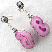 NAHEMA Earrings Pink Solar Quartz Geodes Silver