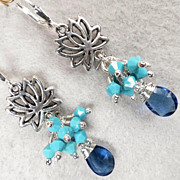 GODDESS KUAN YIN Earrings Sapphire-Quartz Glass Swarovski Turquoise Crystal Lotus Silver