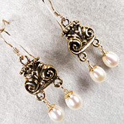 SOLD Ancient Roman Style Cultured Pearl Earrings