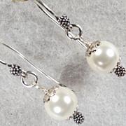 SOLD TUDOR PEARL Earrings Swarovski Crystal Pearl Silver Renaissance Style