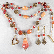 LADY FIREHEART Set Spiderweb Carnelian Amber Coral Banded Agate Vintage Bronze Filigree Medieval Style