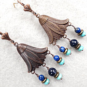 SOLD GODDESS ISIS Earrings Lapis Magnesite Turquoise Copper Bronze Ancient Egyptian Style - Re