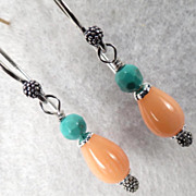 SOLD Coral Drop Earrings Salmon Bamboo Coral Turquoise Victorian-Style