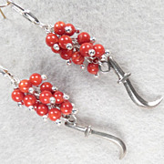 MEDIEVAL HEALING WOMAN Earrings Silver Sickle Knife Charms Red Coral