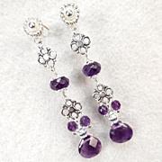 Anne Boleyn Wears Purple - Tudor Renaissance Style Earrings Amethyst SS