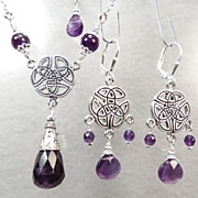 Cliodna Of The Waves Set Amethyst Silver Celtic Medieval Style