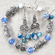 SOLD Cliodna Of The Waves Set Blue Lace Agate Celtic Medieval Style