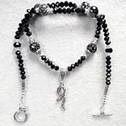 Serpents of Ireland Necklace Black Snakeskin Agate Jet Crystal Celtic Medieval Style