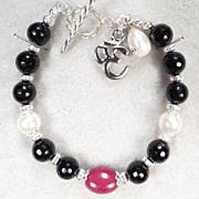 GODDESS KALI Bracelet Gem Ruby Natural Jet Cultured Pearl Om Charm