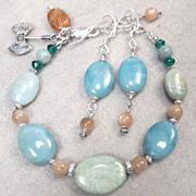 SOLD AMAZON QUEEN Set Bracelet Earrings Amazonite Peach Moonstone - Red Tag Sale Item