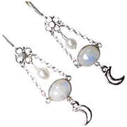 SOLD GODDESS DIANA Earrings Rainbow Moonstone Cultured Pearl Crescents Roman Moon Goddess - Re