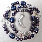 SALE PENDING WISE CRONE Set Vintage 1920s-1930s Crystals Indigo Cultured Pearls Divine Feminin