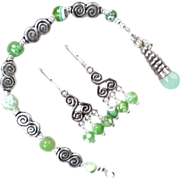 Cliodna Of The Waves Bracelet Earrings Set Green Agate Celtic Medieval Style