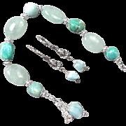 GODDESS YEMAYA Set Larimar Aquamarine Jasper 8 Inch Bracelet Earrings African Sea Goddess