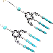 SOLD SYBILLA OF JERUSALEM Earrings Turquoise SSF Medieval Crusader Queen