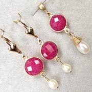 SOLD Isabella Longs For Love Earrings Rubies Ruby Set Cultured Pearl 24K GV 14K GF French Medi