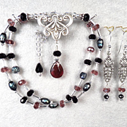 SOLD THE ENCHANTRESS BALL Set Jet Crystal Smoky Gray Cultured Pearl Violet Crystal