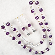 CLIODNA Of The Waves Set Amethyst Swirled Sterling Beads Celtic Medieval Style