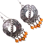 SOLD SHIELD MAIDEN Earrings Amber Norse Medieval Style