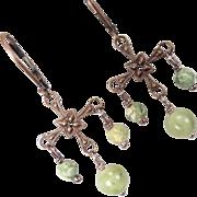 SOLD QUEEN OF TARA Earrings Irish Connemara Marble Rhyolite Bronze Celtic Medieval Style