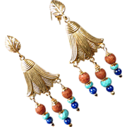 SOLD GODDESS ISIS Earrings Lapis Turquoise 'Terra-Cotta' Glass Ancient Egyptian Style