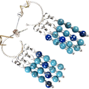 SOLD Byzantine Medieval Style Hoop Earrings Sterling Silver Lapis Magnesite Turquoise