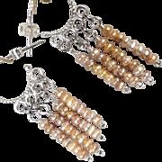 Byzantine Medieval Style Earrings Sterling Silver Hoops Freshwater Pearls