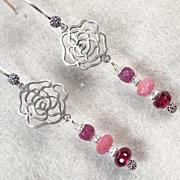 Isabella Longs For Love Earrings Ruby Rhodolite Garnet Silver Roses Medieval Style