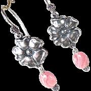 SOLD TUDOR ROSE Earrings Rhodochrosite Roses Silver Renaissance Style