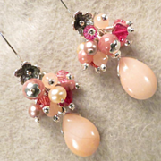 The Great Inca Priestesses Earrings Rhodochrosite Pink Peruvian Opal
