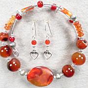 LADY FIREHEART Set Spiderweb Carnelian Spice Garnet Banded Agate Set Collar Earrings Medieval Style