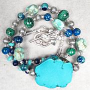 EGYPTIAN GODDESS Necklace Magnesite Turquoise Malachite Blue Jasper Ancient Egyptian Style