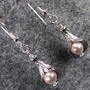 CALLA LILIES Earrings Swarovski 'Rosaline' Pink Pearls