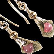 SOLD CALLA LILIES Earrings Rhodochrosite 14K GF