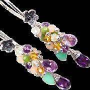 SOLD PRIMAVERA Earrings Amethyst Chrysoprase Prehnite Nephrite Jade Cubic Zirconia Renaissance