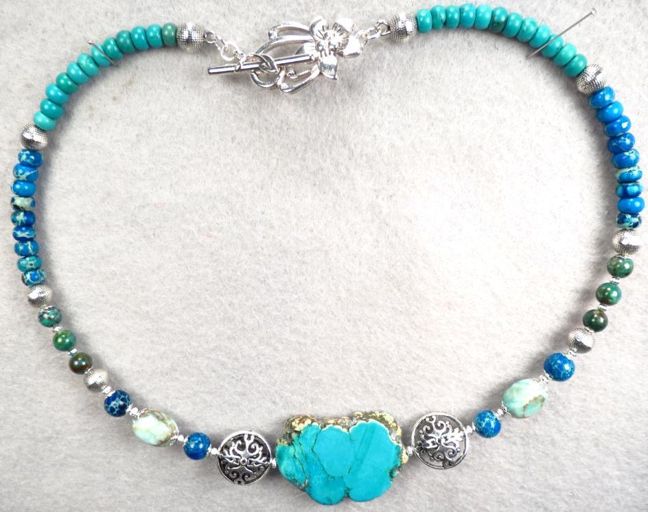 GODDESS ISIS Collar Necklace Magnesite Turquoise Chrysocolla from